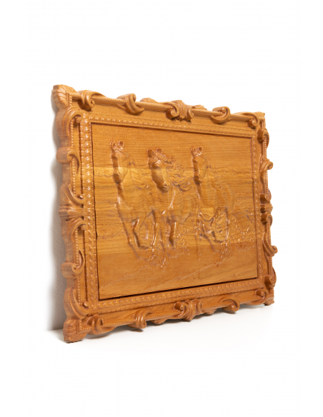 Carved wood wall decor panel Horses